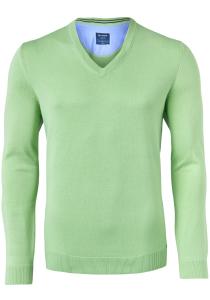 OLYMP modern fit trui katoen, V-hals, lichtgroen