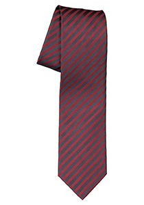 OLYMP stropdas, donkerrood met zwart gestreept