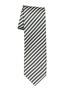 OLYMP stropdas, grijs-wit gestreept
