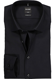 OLYMP Luxor modern fit overhemd, zwart zonder borstzak