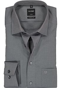 OLYMP Luxor Modern Fit overhemd, mouwlengte 7, grijs (Fil a Fil)