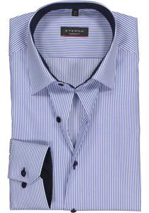 Eterna Modern Fit overhemd, midden blauw gestreept (contrast)