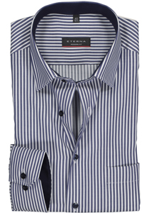 Eterna Modern Fit overhemd, blauw gestreept (contrast)
