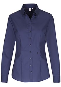 Seidensticker dames blouse slim fit, donkerblauw
