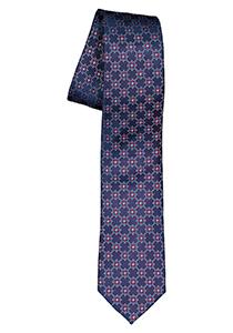 ETERNA smalle stropdas, blauw met rood dessin
