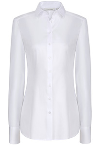 ETERNA dames blouse slim fit, stretch satijnbinding, wit