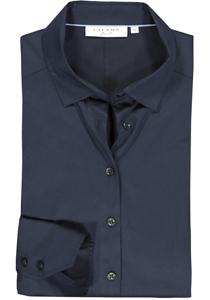 Eterna dames blouse Slim Fit stretch satijnbinding, donkerblauw