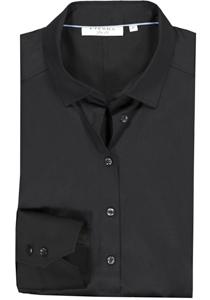Eterna dames blouse Slim Fit stretch satijnbinding, zwart