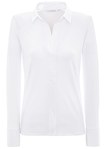 ETERNA dames blouse modern classic, jersey stretch, wit