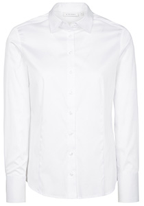 ETERNA dames blouse modern classic, stretch satijnbinding, wit