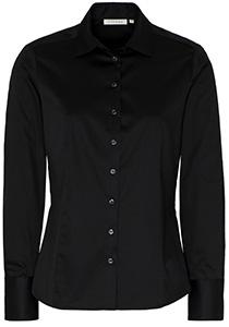 Eterna dames blouse Modern Classic stretch satijnbinding, zwart