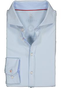 Desoto Slim Fit tricot overhemd, lichtblauw stretch