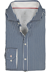 DESOTO slim fit overhemd, stretch tricot, donkerblauw-wit gestreept