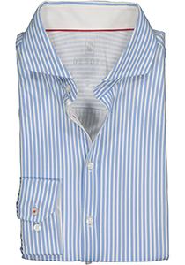 Desoto Slim Fit tricot overhemd, lichtblauw-wit gestreept stretch