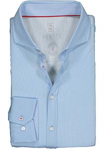 DESOTO slim fit overhemd, stretch tricot, lichtblauw structuur