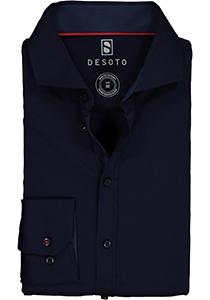 Desoto Slim Fit tricot overhemd, donkerblauw stretch