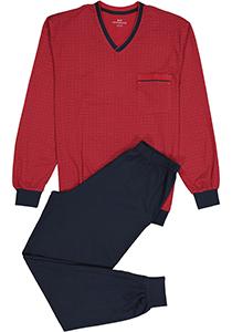 Gotzburg heren pyjama, V-hals, rood met blauw en wit dessin
