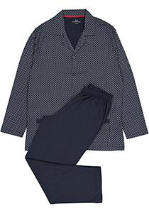 Gotzburg heren pyjama met knoopjes, blauw met rood en wit dessin