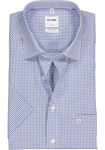 OLYMP Luxor Comfort Fit overhemd, korte mouw, blauw met wit geruit