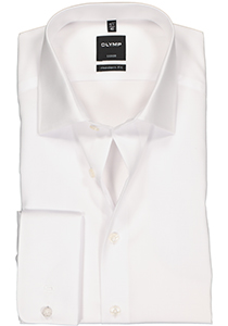 OLYMP Luxor Modern Fit overhemd, dubbele manchet, wit