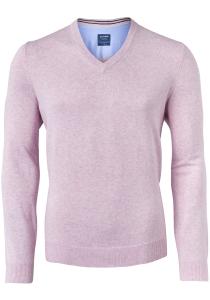 OLYMP modern fit trui katoen, V-hals, roze
