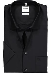OLYMP Luxor comfort fit overhemd, korte mouwen, zwart