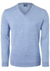 OLYMP heren trui wol, V-hals, lichtblauw