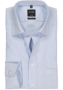 OLYMP Luxor modern fit overhemd, mouwlengte 7, blauw met wit geruit