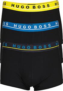 HUGO BOSS trunk (3-pack), heren boxers kort, zwart met gekleurde tailleband