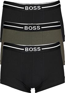 HUGO BOSS trunk (3-pack), heren boxer kort, zwart, olijfgroen en zwart