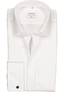 Seidensticker Slim Fit overhemd dubbele manchet Kent kraag, wit