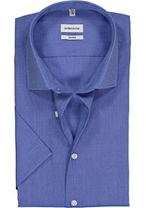 Seidensticker Shaped Fit overhemd korte mouw, blauw fil a fil