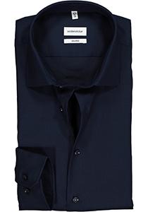 Seidensticker Shaped Fit overhemd, donkerblauw structuur