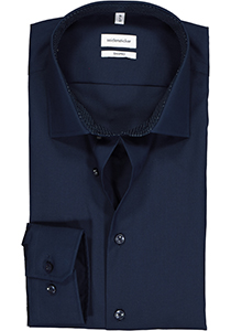 Seidensticker shaped fit overhemd, donkerblauw (contrast)