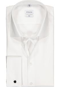 Seidensticker Slim Fit overhemd dubbele manchet, wit