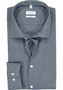 Seidensticker slim fit overhemd, blauw fil a fil