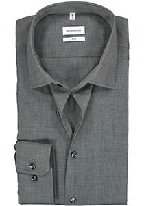Seidensticker slim fit overhemd, grijs fil a fil