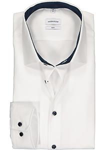 Seidensticker slim fit overhemd, wit (gestipt contrast)