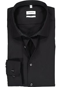 Seidensticker slim fit overhemd, zwart (gestipt contrast)