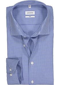 Seidensticker Slim Fit overhemd, blauw geruit