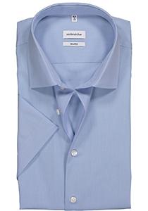 Seidensticker Shaped Fit overhemd korte mouw, lichtblauw fil a fil