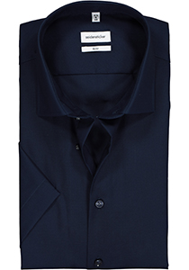 Seidensticker Slim Fit overhemd korte mouw, donkerblauw