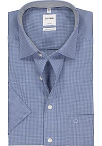 OLYMP Luxor Comfort Fit overhemd, korte mouw, donkerblauw met wit geruit