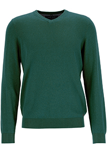 MARVELIS modern fit trui katoen, V-hals, groen