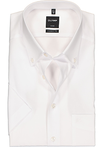 OLYMP Luxor Modern Fit overhemd, korte mouw, wit button down