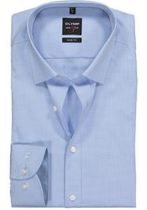 OLYMP Level 5 body fit overhemd, lichtblauw met wit mini ruitje (contrast)