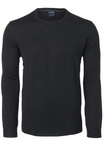 OLYMP modern fit trui wol, O-hals, zwart