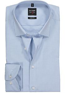 OLYMP Level 5 body fit overhemd, lichtblauw met wit geruit
