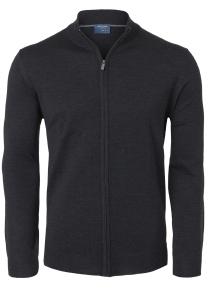 OLYMP modern fit vest wol, antraciet grijs met rits