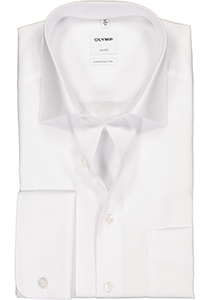 OLYMP Luxor Comfort Fit overhemd, dubbele manchet, wit
